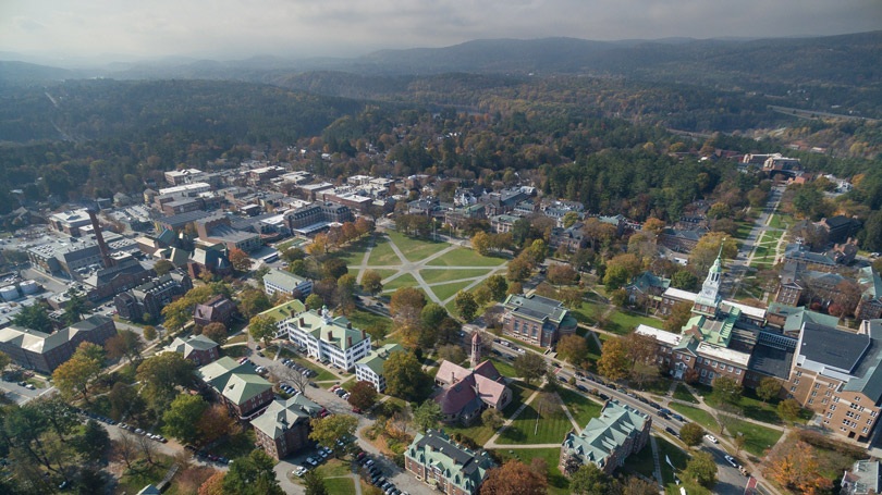 Aerial summer view of campus
