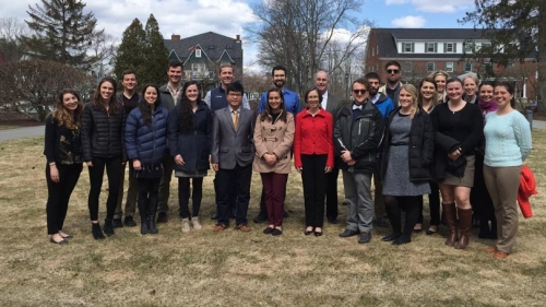 president hanlon lunches with grad leaders