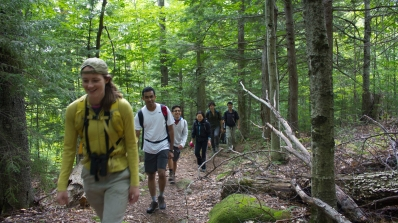 Dartmouth graduate students hiking in the woods