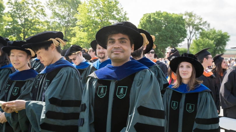 Students at Dartmouth's commencement ceremony